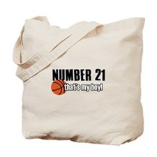 Basketball Parent Of Number 21 Tote Bag