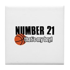 Basketball Parent Of Number 21 Tile Coaster