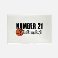 Basketball Parent Of Number 21 Rectangle Magnet