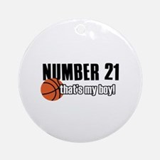 Basketball Parent Of Number 21 Ornament (Round)
