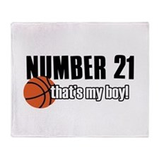 Basketball Parent Of Number 21 Throw Blanket