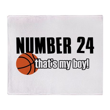 Basketball Parent Of Number 24 Throw Blanket