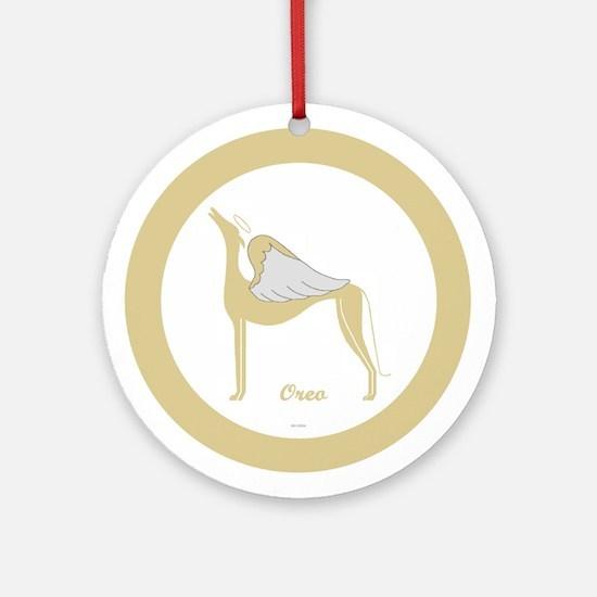 OREO ANGEL GREY ROUND ORNAMENT