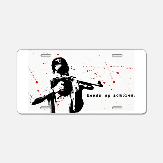 Heads up zombies Aluminum License Plate