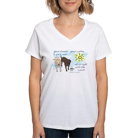 good friends good coffee Women's V-Neck T-Shirt