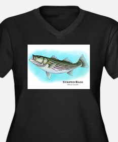 Striped Bass Women's Plus Size V-Neck Dark T-Shirt