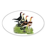 Modern Game Roosters Sticker (Oval 50 pk)