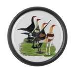 Modern Game Roosters Large Wall Clock