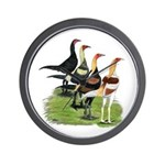 Modern Game Roosters Wall Clock
