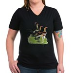 Modern Game Roosters Women's V-Neck Dark T-Shirt