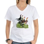 Modern Game Roosters Women's V-Neck T-Shirt