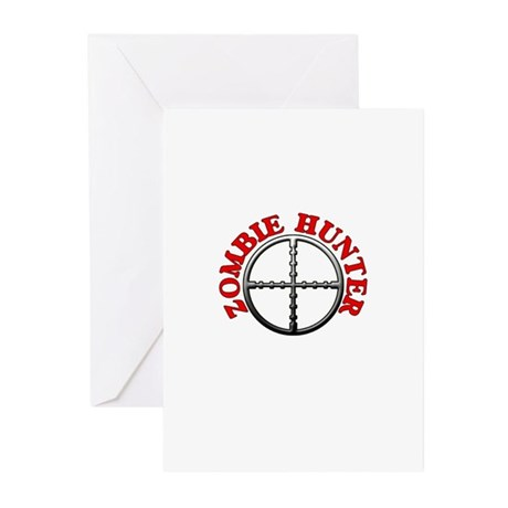 Zombie Hunter with Crosshairs Greeting Cards (Pk o