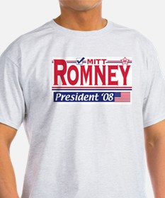 Mitt Romney 2008 Gear Ash Grey T-Shirt