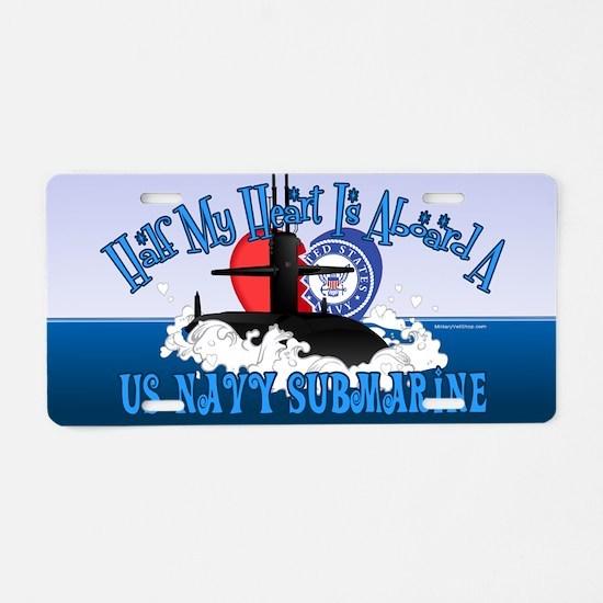 Half My Heart Aluminum License Plate