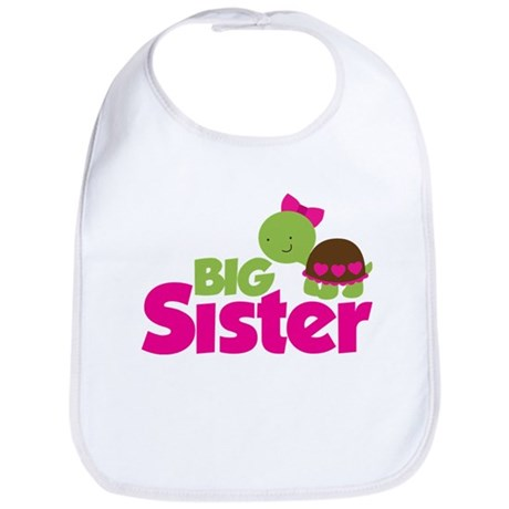 Girl Turtle Big Sister Bib