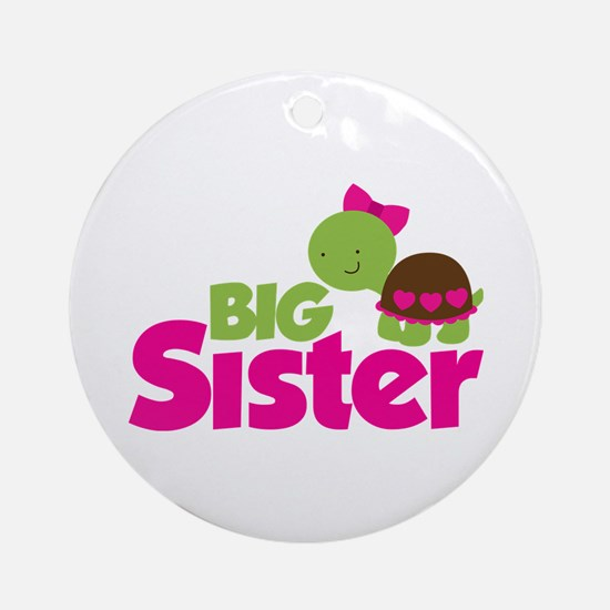 Girl Turtle Big Sister Ornament (Round)