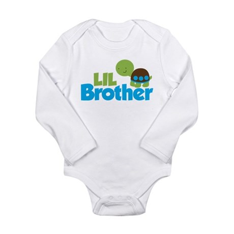Boy Turtle Little Brother Long Sleeve Infant Bodys