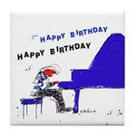 Happy Birthday Blue piano player Tile Coaster