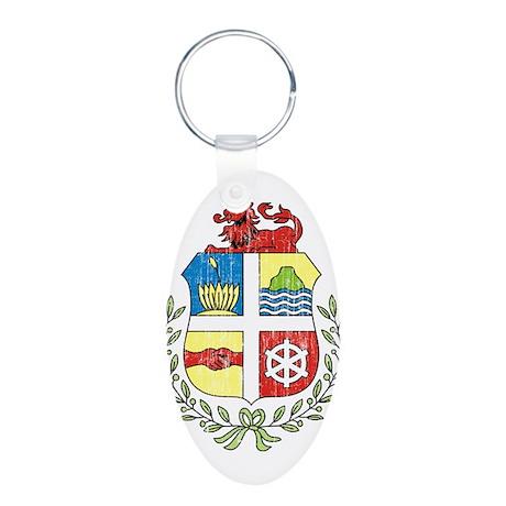 Aruba Coat Of Arms Aluminum Oval Keychain