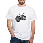 Custom Motorcycle, Hole shot White T-Shirt