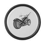 Custom Motorcycle, Hole shot Large Wall Clock