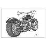 Custom Motorcycle, Hole shot Large Poster