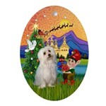 Xmas Fantasy & Maltese Oval Ornament