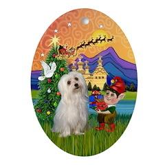 Xmas Fantasy & Maltese Oval Ornament