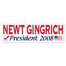 Newt Gingrich 2008 Gear Bumper Car Sticker