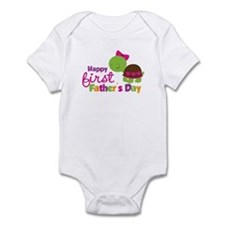 Girl turtle happy 1st fathers day Infant Bodysuit
