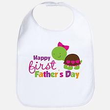 Girl turtle happy 1st fathers day Bib