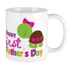 Girl turtle happy 1st fathers day Small Small Mug