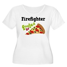 Firefighter Funny Pizza T-Shirt