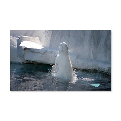 Beluga Whale jumping 3 20x12 Wall Decal