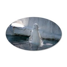 Beluga Whale jumping 3 35x21 Oval Wall Decal
