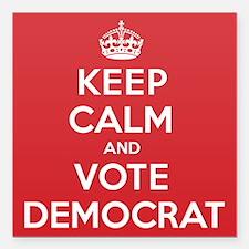 """K C Vote Democrat Square Car Magnet 3"""" x 3"""""""