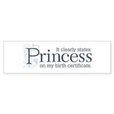 Princess Certificate Bumper Sticker
