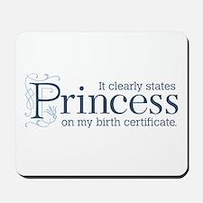 Princess Certificate Mousepad