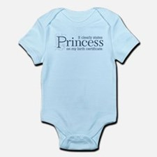 Princess Certificate Infant Bodysuit