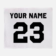 Customize sports jersey number Throw Blanket