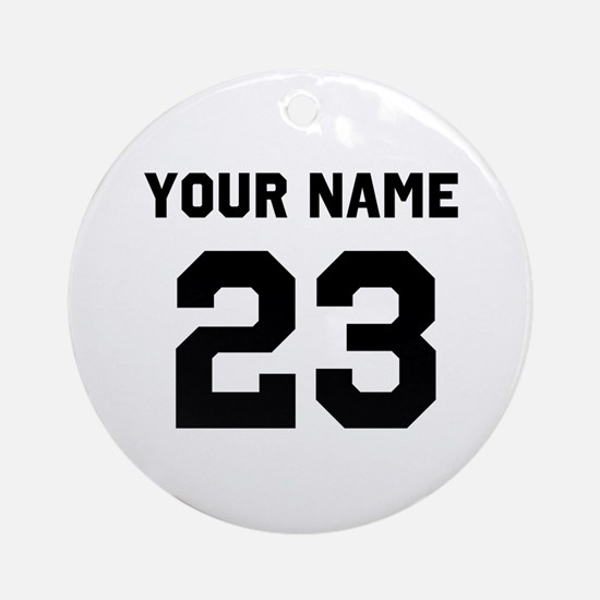 Customize sports jersey number Round Ornament