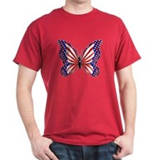 Patriotic Butterfly Black T-Shirt