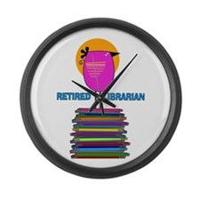 RETIRED LIBRARIAN BIRD 5.PNG Large Wall Clock