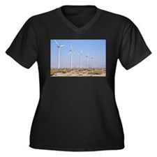 Wind Power Women's Plus Size V-Neck Dark T-Shirt