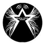 Black Star Radio Black Round Car Magnet
