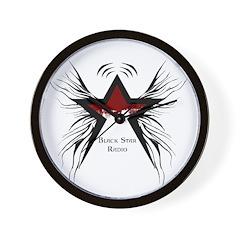 Black Star Logo White Wall Clock