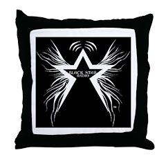 Black Star Radio Black Throw Pillow