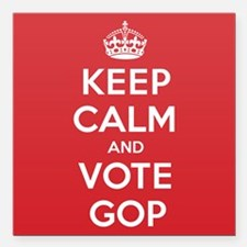 "K C Vote Gop Square Car Magnet 3"" x 3"""