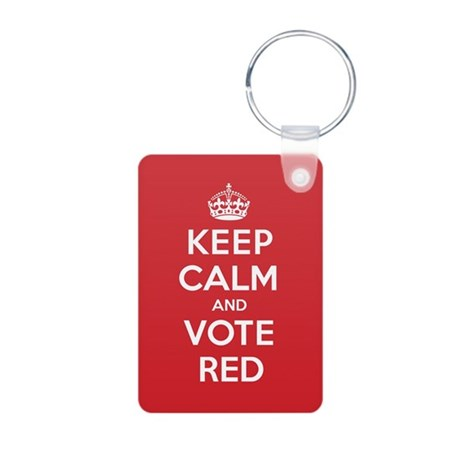 K C Vote Red Aluminum Photo Keychain