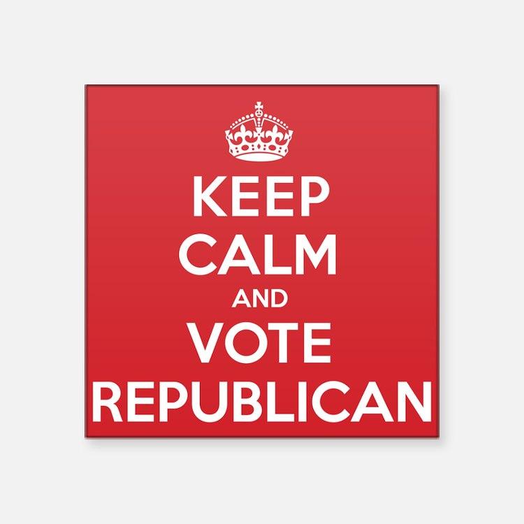 """K C Vote Republican Square Sticker 3"""" x 3"""""""